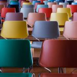 A collection of colourful chairs